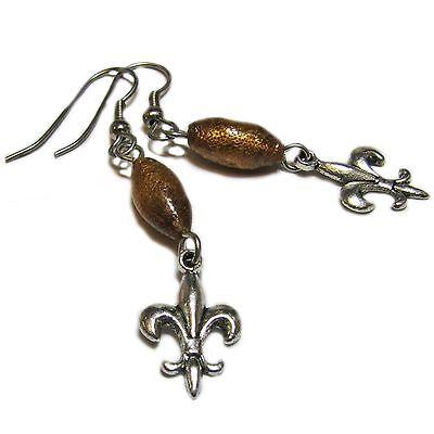 Dangly Amber Resin Fleur De Lis Bead Earrings By SoniaMcD