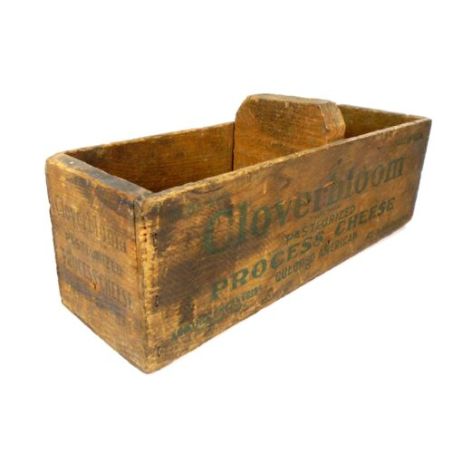 Wooden Cheese Box Cloverbloom 5LBS Pasteurized Process Cheese Vintage Antque