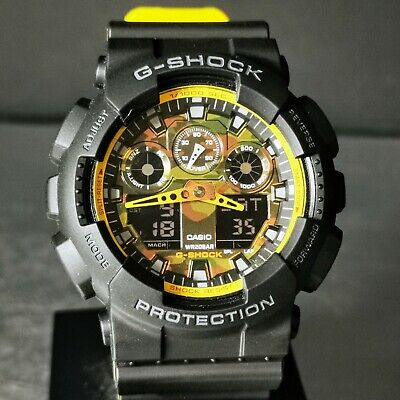 Burning Sun G-Shock GA-100BY-1A Yellow Camo Dial Casio Sample S Stamped Caseback