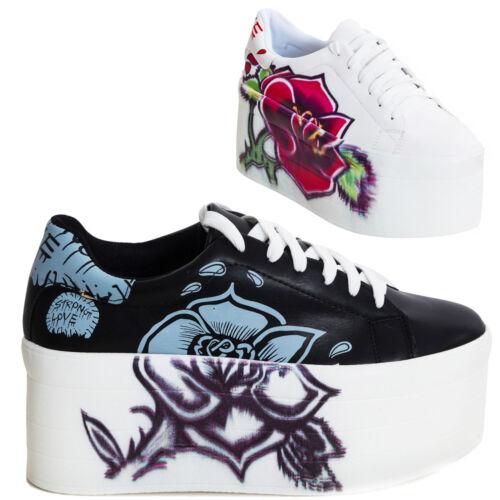 32a2e5a3072858 Sneakers donna scarpe ginnastica zeppa platform stringate alte nuove ...