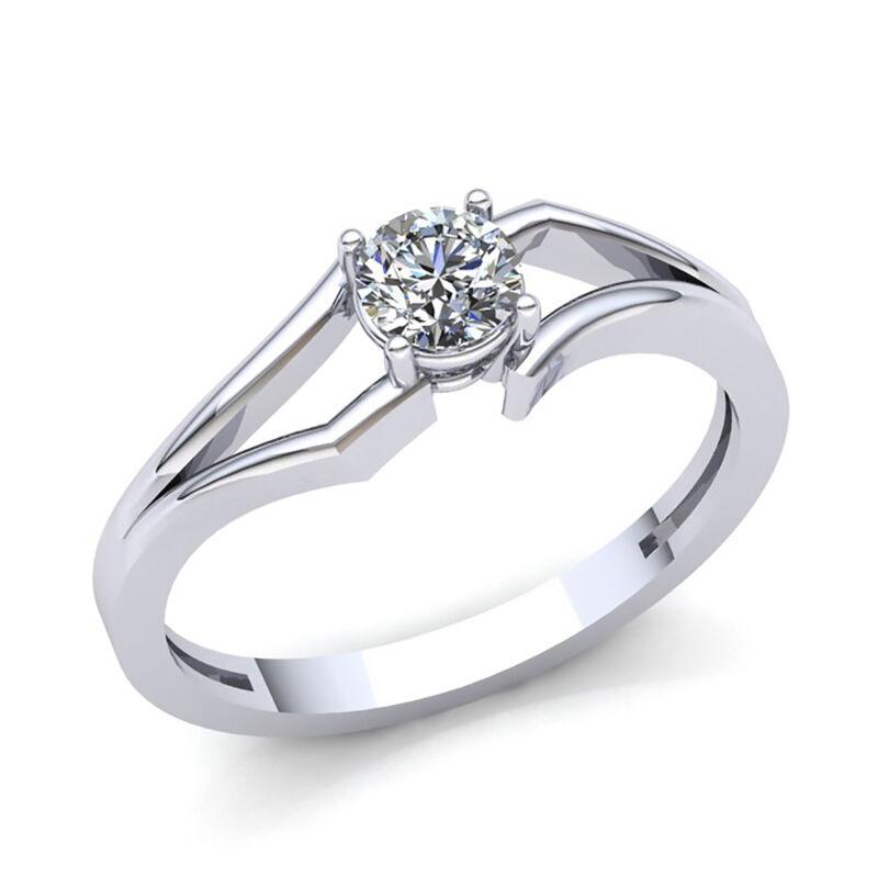 0.75ct Round Cut Diamond Ladies Solitaire Split Shank Engagement Ring 14k Gold