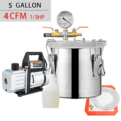 5 Gallon Vacuum Chamber and 4 CFM Single Stage Pump Degassing Silicone Kit Black for sale  USA