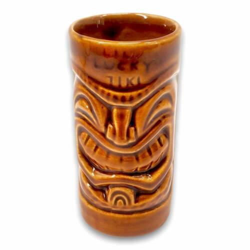 "2005 Tiki Farm ""Lil Lucky Tiki"" Shot Brown Glazed Ceramic Mini Tiki Mug By Squid"