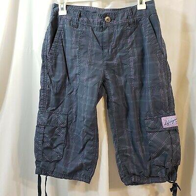 Life is Good sz 4 grid plaid cargo long shorts crop pant capri tie leg gray NWOT Capri Plaid Tie