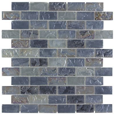 Classic Mini Brick Platinum Frosted Glossy Glass Mosaic Backsplash Tile MTO0088