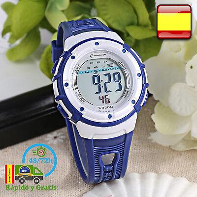 Reloj de Niño Digital Infantil Deportivo Azul Relojes Multifunción Para Niños