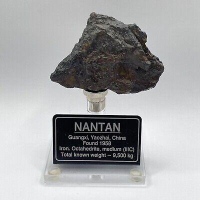 58.8 g Nantan Iron w/COA, Stand, & Sign - Iron IAB-MG China Meteorite Found 1958
