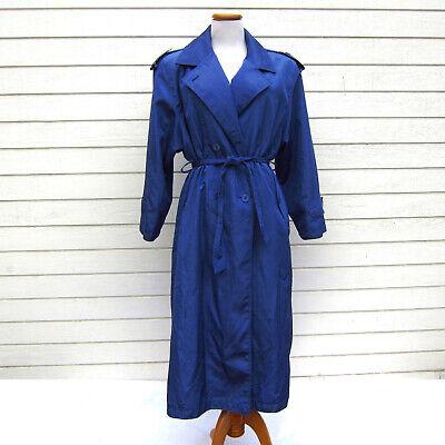 Womens Vtg 90s Purple Blue Trench Coat M 13/14 Shimmer Epaulettes Shoulder Pads - Purple Trench Coat