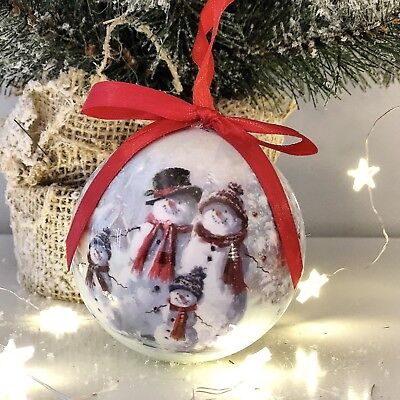 Set 6 Gift Boxed Baubles Vintage Style Xmas Snowman Christmas Tree Decoration