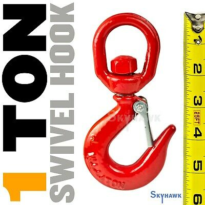 Lifting Hook With Safety Latch 1 Ton Swivel 38 Thick Eye