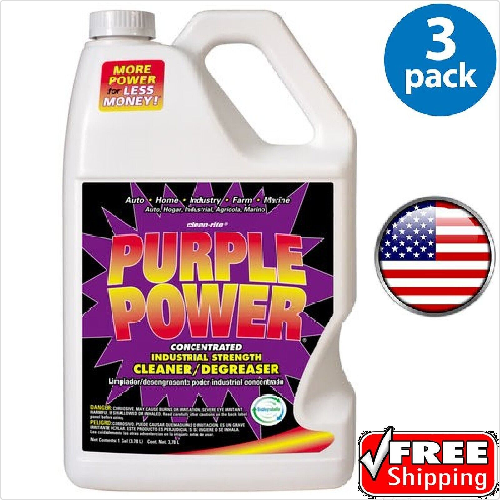 Purple Power ® Degreaser 1 Gallon - 3 PACK - Free 2-5 Day D
