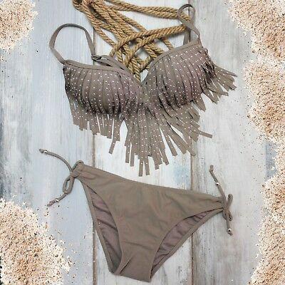 Bikini Frau Tribal Strass Badeanzug Kostüme Bade- Grün Franse Hippie Boho Khaki (Hippie Bikini Kostüme)