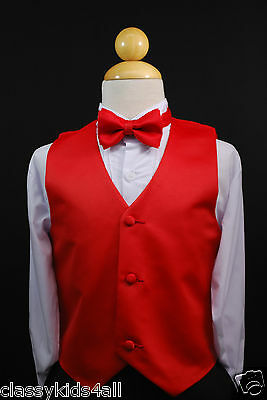 Wedding Satin VEST + BOW TIE Neck for Boy Children Suits Tuxedo Sz S-28-13 color
