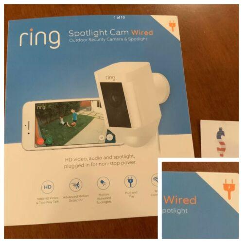 Ring Spotlight Cam WIRED Security Camera White -Alexa NEW
