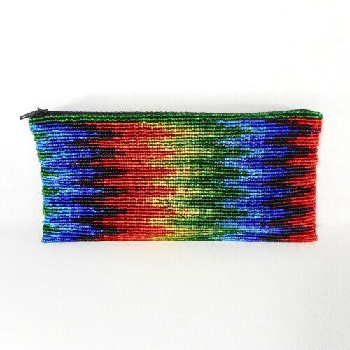 Huichol Beaded Art Clutch Purse Chaquira Handbag Mexican Handmade Wallet Rainbow