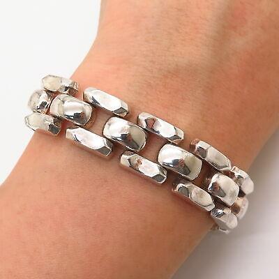 925 Sterling Silver Italy Men's Fancy Panther Link Bracelet 8