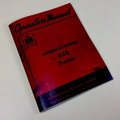 International Farmall Ihc 650 Tractor Operators Owners Manual Carb Printed Ih