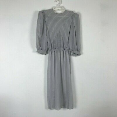 80s Dresses | Casual to Party Dresses Vintage 1980s Charlee Allison Dress Size XS Sheer Gray Striped 3/4 Sleeve Womens $25.00 AT vintagedancer.com
