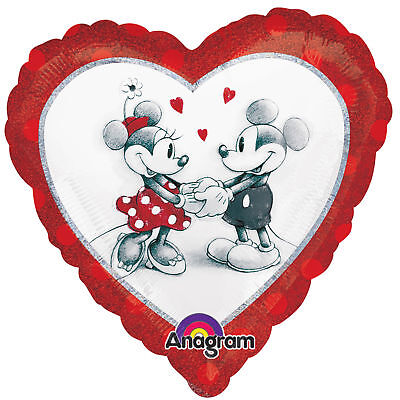 MICKEY and MINNIE Mouse Vintage Look Classic Heart Mylar Valentine Love Party Ba](Classic Minnie Mouse Party Supplies)