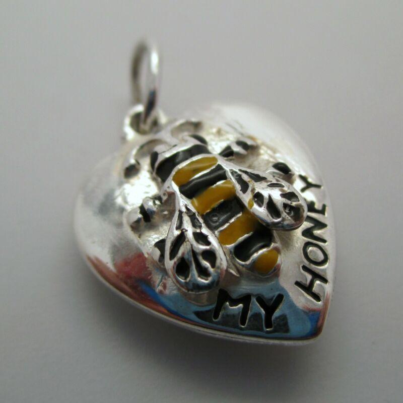 Sterling Silver BEE MY HONEY HEART Charm for Bracelet PENDANT Hand-enameled CUTE