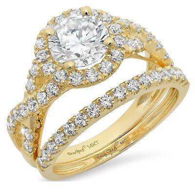 2.40 Ct Round Cut Halo Bridal Engagement Wedding Ring Ban...