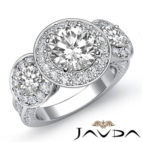 2.8ct Halo Pave Round Diamond Engagement 3 Stone Ring GIA F VS2 14k White Gold