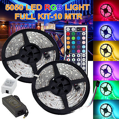 10M 5050 RGB SMD Flexible LED Strip Lights Waterproof IR Remote 12V Power Supply