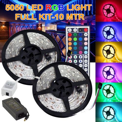 10M 5050 RGB SMD Flexible LED Strip Lights Waterproof IR Remote 12V Power Supply