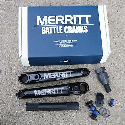 MERRITT BMX BIKE BATTLE CRANKS 22mm BLACK BICYCLE CRANKS 170mm FIT CULT SUNDAY