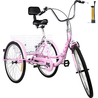 Foldable Adult Tricycle 26'' Folding Tricycle 1-Speed 3 Whee