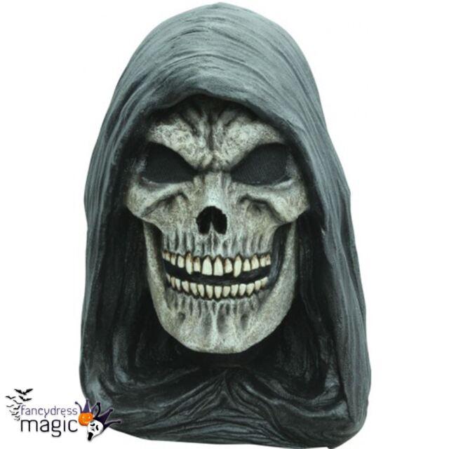 Adult Grim Reaper Skull Halloween Horror Latex Full Head Neck Fancy Dress Mask