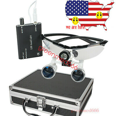 3.5x Surgical Dental Binocular Loupes Magnifier Led Head Light Case Kit