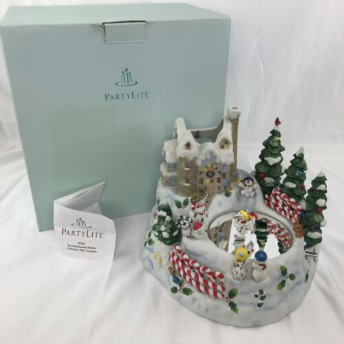 Partylite Christmas Music Box Snowbell Candle Holder Magnet Snowman Ice Skater