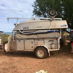 Rugged off road camper trailer with boat Waterbank Broome City Preview