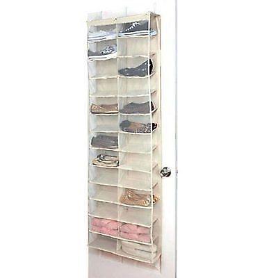 26 Pair Cream Over Door Hanging Shoe Organiser Storage Rack Shelf Pocket Holder