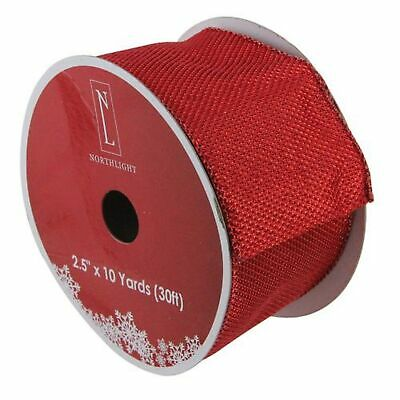 Christmas Wired Ribbon (Northlight Simply Red Burlap Wired Christmas Craft Ribbon 2.5