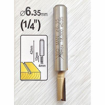 """4mm x TCT Tungsten Carbide Straight Cut Router Cutter Bit 1/4"""" Shank Twin Flute"""