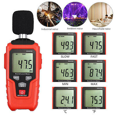 Digital Sound Level Meter 35-135dba Decibel Noise Volume Temperature Measuring