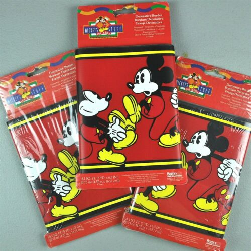 Mickey Mouse Decorative Wall Border 3 Lot Pre-Pasted Mickeys Stuff For Kids 45ft