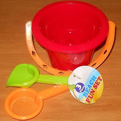3 Pc TOY SAND BEACH FUN SET PAIL & TOOLS SHOVEL SIFTER RED Fast FREE USA S&H](Red Beach Pail)