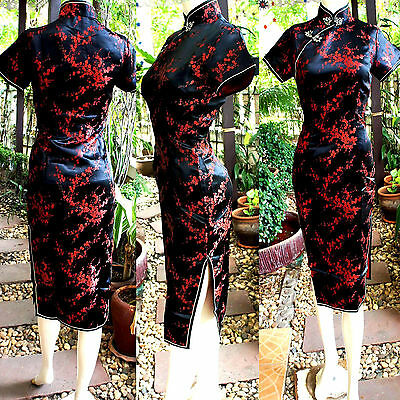 Asia China/Japan Qipao/Geisha-Kleid/Kostüm Cheongsam Schwarz/Rot - Geisha Kleid Rot Kostüm