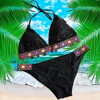 Kostüme Bade- Frau Ethnische Bikini Schwarz Boho Tribal Münzen Hippie Pearl Surf (Hippie Bikini Kostüme)