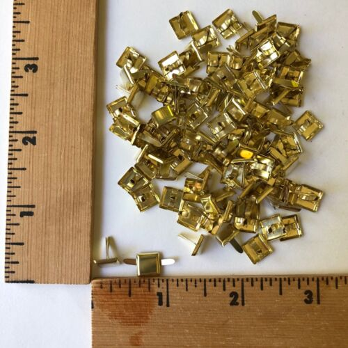 "HyGlo Deco Fasteners - Brads - 1/4"" Gold Square - 100 - NEW"