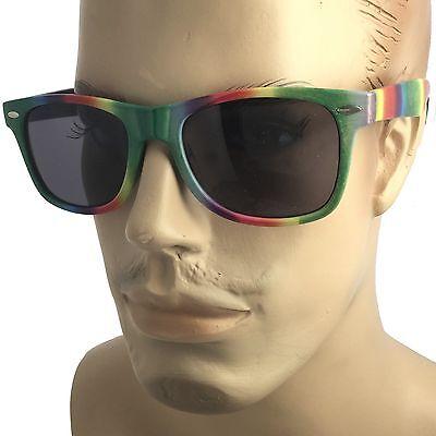 Mens Rainbow Party Tie Dye Sunglasses Retro 80s Gay Pride (Tie Dye Sonnenbrille)