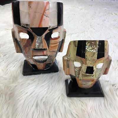 SET 2 Mayan Aztec Abalone Stone Stand Ceremonial Masks on Stands for sale  Vacaville