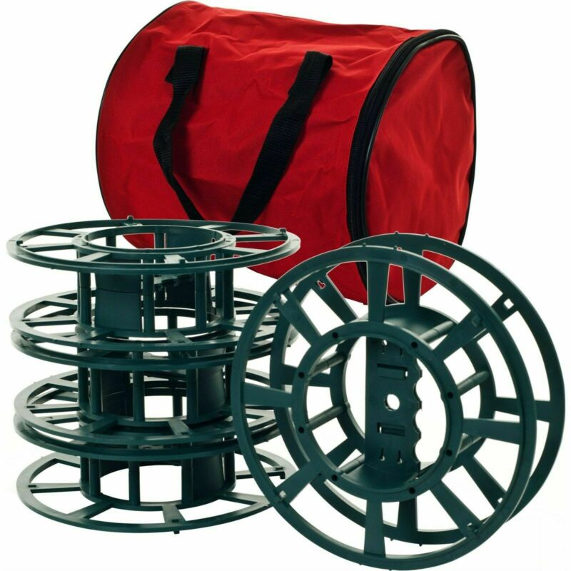 Set of 4 Extension Cord Christmas Light Reels with Carrying Storage Bag