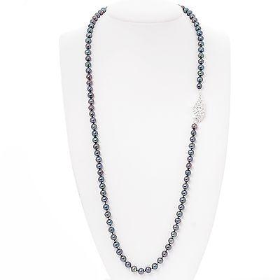 LUXUS Black Akoya Perlenkette Engelsflügel weiss (BPL4) 90cm lang  (Lange Schwarze Engel Flügel)