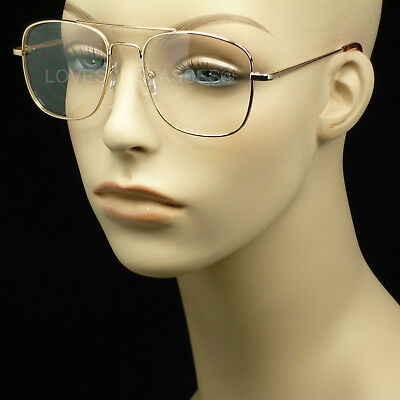 Clear lens square frame sun glasses aviator retro vintage style metal new shoot