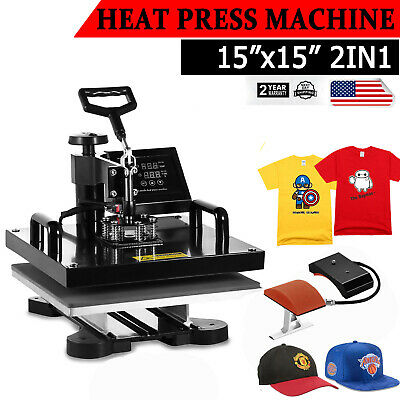 Digital 2in1 Combo T-shirt Heat Press Transfer Machine Cap Swing Away 15x15