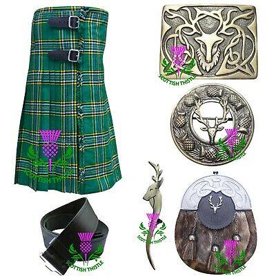 Herren Schottischer Clan Grün Irisch Tartan Acryl Wolle Kilt Kostüm - Irische Mädchen Kostüm